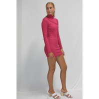 ROTATE LONG SLEEVE TURTLENECK MINI DRESS IN PINK SIZE XS