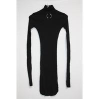 FRANKIE B JANET BULL RING MOCK NECK MINI DRESS IN BLACK SIZE S