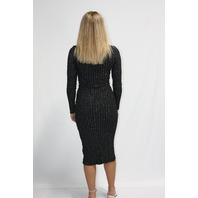 ENZA COSTA LUREX RIB LONG SLEEVE CARDIGAN MIDI DRESS IN BLACK & SILVER SIZE M