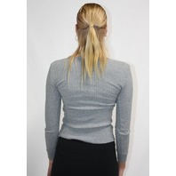 ENZA COSTA CASHMERE POINTELLE LONG SLEEVE HENLEY IN SMOKE SIZE XS