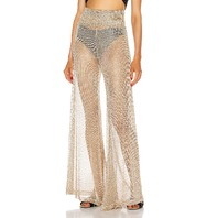 REDEMPTION NET DRAPED WAIST PANTS IN GOLD SIZE 36