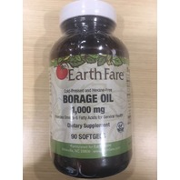 EARTH FARE BORAGE OIL 1,000 MG DIETARY SUPPLEMENT 90 SOFTGELS
