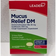LEADER MUCUS RELIEF DM 20CT 600MG GUAIFENESIN EXP 07/21