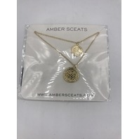 AMBER SCEATS UNIT 13.888 DOUBLE COIN LAYERED NECKLACE