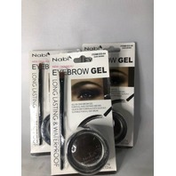 3 PK NABI EYEBROW GEL LONG LASTING & WP DARK BROWN 3.5 G 0.12 OZ BRUSH & GEL