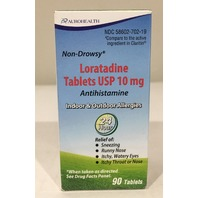 AUROHEALTH LORATADINE TABLETS USP 10 MG, 90 TABLETS, EXP 11/2021