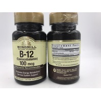 LOT OF 2 WINDMILL NATURAL VITAMINS B-12 (CYANOCOBALAMIN) 100 TAB EXP 12/22