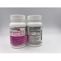LOT OF 2 PLUS PHARMA CALCIUM +D3 60 TABLETS EXP 09/22