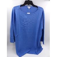 J JILL 187991 CAROLINE BOAT-NECK SWEATER BLUE OPAL WOMENS SIZE XL
