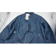 JESSICA LONDON GENUINE LEATHER JACKET BLUE SIZE 16 W