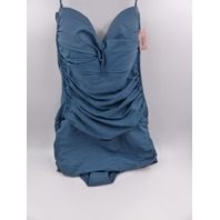 DOBREVA  BANDEAUSKIRTED SWIMWEAR ONE PEICE PETROL BLUE WOMANS SIZE US 14