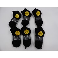 DEFINITIONS NEW YORK 5855 BLACK 4 ANKLE SOCKS LOT OF 6 MENS SIZE 9-11