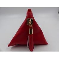 POSHER X002E87X8T PU LEATHER TRIANGLE PURSE WRITLET CLUTCH WALLET TASSEL HANDBAG RED