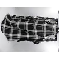 K.JORDAN 1075310-1-4 PLAID COLD SHOULDER TUNIC BLACK-WHITE WOMENS SIZE M