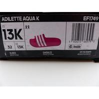 ADIDAS EF1749 ADILETTE AQUA REAL MAGENTA SLIDE SANDALES UNISEX YOUTH 13K