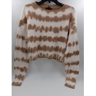 FOREVER 21 410339023TIE-DYE SWEATER CROP TOP CREAM/TAUPE WOMENS SIZE M