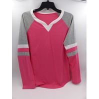 LONG SLEEVE JERSEY TEE BRIGHT PINK/GREY/WHITE WOMENS SIZE XL