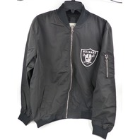 FANATICS OAKLAND RAIDERS BLACK NYLON FULL-ZIP BOMBER JACKET MENS SIZE L