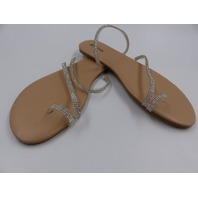 JUST FAB PINCH OF SPARK FLAT SANDAL CLEAR WOMENS SIZE 8.5