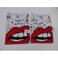 *2 ON FIRE 10293728 LIPS T-SHIRT WHITE DRAWSTRING BOTTOM WOMENS SIZE M