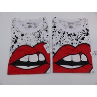 *2 ON FIRE 10293710 LIPS T-SHIRT WHITE DRAWSTRING BOTTOM WOMENS SIZE L