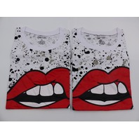 *2 ON FIRE 10293736 LIPS T-SHIRT WHITE DRAWSTRING BOTTOM WOMENS SIZE XL