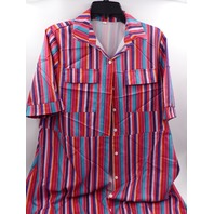 RED RAINBOW STRIPED SHORT SLEEVE MAXI BUTTON DOWN DRESS WOMENS SIZE L