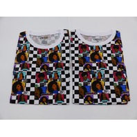 *2 ON FIRE 10293991 MELANIN QUEENS BLACK & WHITE CHECKERED TSHIRT WOMENS SIZE M