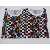 *2 ON FIRE 10293983 MELANIN QUEENS BLACK & WHITE CHECKERED TSHIRT WOMENS SIZE L