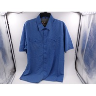 DRAKE WATERFOWL DS2002 BLUE MEDIUM TRAVELER'S CHECK SHORT-SLEEVE SHIRT FOR MEN