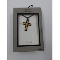 BELIEVE BY BRILLIANCE TS15823 STAINLESS STEEL BLACK INLAY TWO-TONE CROSS PEDANT NECKLACE