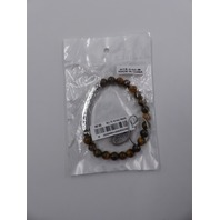 STEEL TIME D1607 OUR FATHER THE LORDS PRAYER ENGRAVED BROWN BEAD ID BRACELET ONE SIZE