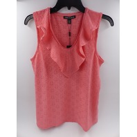 CABLE & GAUGE SALMON SLEEVELESS SHIRT WITH RUFFLED V NECK WOMENS SIZE S