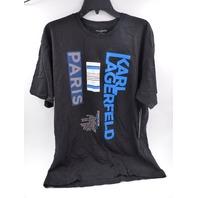 KARL LAGERFELD PARIS LM0K3658 LOGO AND GRAPHIC BLACK T-SHIRT MENS SIZE XL