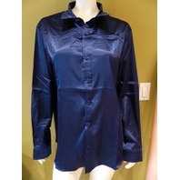 BUTTON-UP LOUNGE WEAR DARK BLUE SATIN SHIRT WOMENS SIZE L