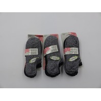 *3 APARA 98285 CUSHIONED NO SHOW NON-SLIP HEEL CHARCOAL 3PK SOCKS WOMENS 5-10