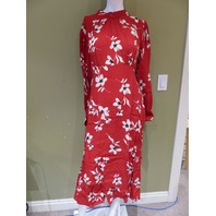 NEW LOOK 6489538 ULLA HIGH NECK RED FLORAL DRESS WOMEN SIZE UK 14