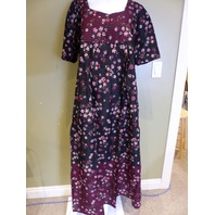 ONLY NECESSITIES BLACK FLORAL DRESS WOMENS SIZE L
