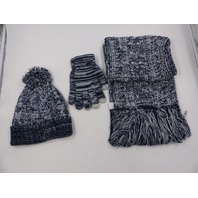 LOKASS A CHRISTMAS GIFT FOR YOU HAT, SCARF AND GLOVES SET NAVY BLUE/WHITE