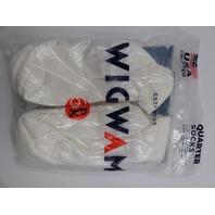 WIGWAM S9014  SUPER 60 QUARTER SOCKS WHITE 6-PACK SIZE L