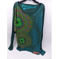 DESIGUAL 49T2493 QUATER SLEEVE LONG GEEN TSHIRT WOMENS SIZE EUR S