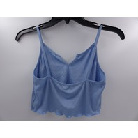 ROMWE RIBBED CAMI CROP TOP  V NECK BABY BLUE WOMENS SIZE S