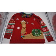UNITED STATES SWEATERS CAMEL CHRISTMAS SWEATER RN 73352 RED GREEN TAN L