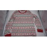 HOLIDAY#FAMJAM CHRISTMAS PAJAMA SET TOP AND BOTTOM SNOWFLAKE REINDEER WHITE RED GREEN  XL