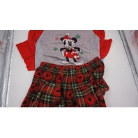 DISNEY MICKEY MOUSE PAJAMA SET TOP AND BOTTOM FLANNEL PAJAMAS RED/GREEN/GREY XL