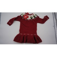 JINGLES AND JOY KNIT LITTLE GIRLS GNOME SWEATER DRESS RED/WHITE 18M