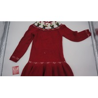 JINGLES AND JOY KNIT LITTLE GIRLS GNOME SWEATER DRESS RED/WHITE 5-6