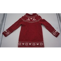TAHARI KIDS CHRISTMAS SWEATER REINDEER RED/WHITE/GREEN 5-6