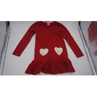 ISAAC MIZRAHI CHRISTMAS SWEATER DRESS HEARTS WITH LEGGINGS RED/WHITE/GOLD 6 LG