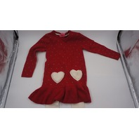 ISAAC MIZRAHI CHRISTMAS SWEATER DRESS HEARTS WITH LEGGINGS RED/WHITE/GOLD 5-6